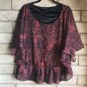 Dressbarn Collection Blouse in Red & Black